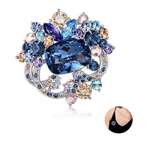 Sxmy Broche de flor vintage de alta gama para mujer traje de lujo chaqueta de estilo chino broche de cristal austriaco broche accesorios azul