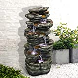 "SunJet 6-Tiers Rocks Outdoor Water Fountain - 40"" High Cascading Waterfall with LED Lights, Soothing Tranquility for Home Garden, Yard Decor"