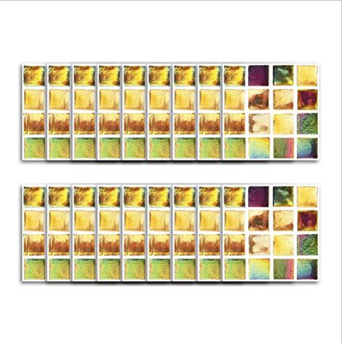 Adhesivo de vinilo para azulejos/decoración de fondo mosaico cuadrado de color, adhesivo de pared tridimensional renovación de barra de bar adhesivo impermeable para azulejos