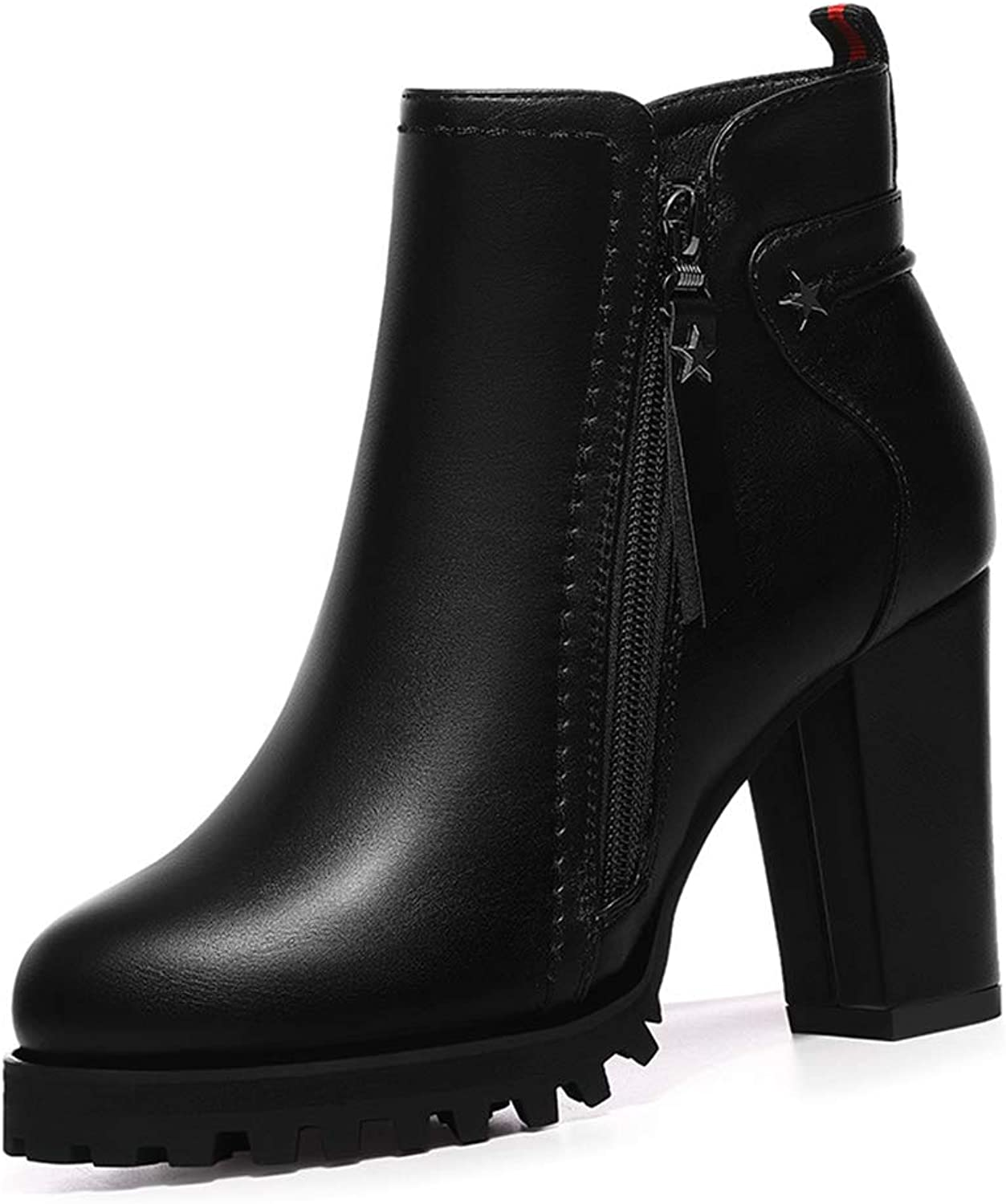 Women's Booties, Round Head Thick Heel High Heel Plus Velvet Leather Boots Ladies Fall Winter Non-Slip Fashion Boots Black (color   Black, Size   36)