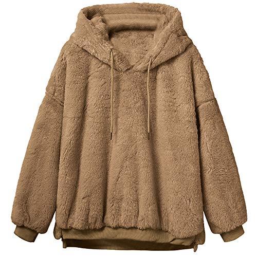MRULIC Damen Winter Wärme Softshell Pullover Flauschige Kapuzenpullover Mantel Fleece Fell Hoodie Sweatshirt Mantel Parka