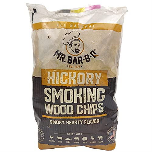 Mr. Bar-B-Q 05011Z Wood Smoker Chips (Hickory)   Smoky & Fruity Flavor   Made from 100% Hardwood   All Natural Hickory Wood Chips   1.6 Pound Bag 179 Cu. In   Works with Smokers, Gas & Electric Grills
