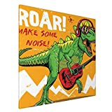 Wozukia Dinosaur Wall Art Cool Dinosaur With Headphone And Sunglasses Playing Guitar Make Some Noise Canvas Print Picture for Bedroom Bathroom Office Decor Framed Artwork 20 x 20 Inch