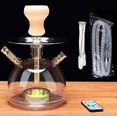 【LEDシーシャ】水タバコ 水パイプ(16色のLEDライト付き) アクリル Shisha Hookah 喫煙具 パーティー・バー・結婚で楽しめる 保証書付き