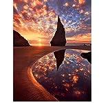 5D Diy Diamante Pintura Punto De Cruz'Sunset On The Beach' Diamante 3D Diamantes Redondos Redondos Pintura Bordado Paisaje
