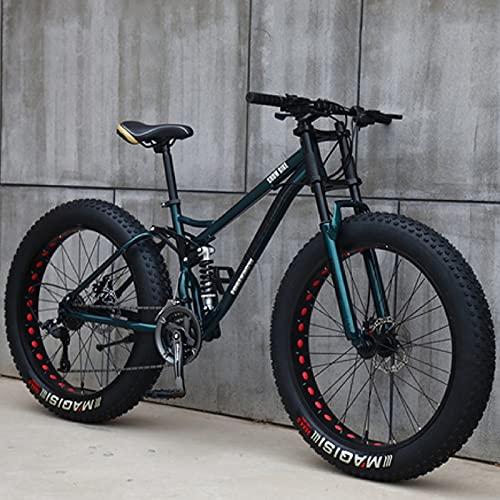 26 Pulgadas Bicicletas de Montaña, 24 Velocidades Bicicleta MTB Bikes de Fat Tire para Adultos, Marco de Acero de Alto...