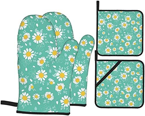 JUJUE Vintage Daisies Oven Mitts and Pot Holders Kitchen Set 4 Pcs Heat Resistant Non Slip Cooking product image