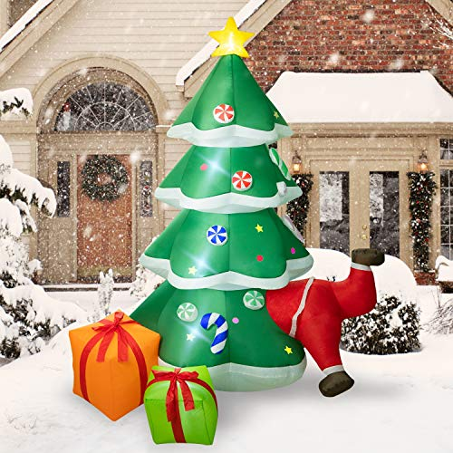 Rocinha Christmas Inflatables Outdoor Decorations, 7.9 Ft Tall Inflatable Christmas Tree with Gift Boxes and Santa Claus for Blow Up Yard Decoration - Lawn Inflatables Xmas Home Outside Indoor Display