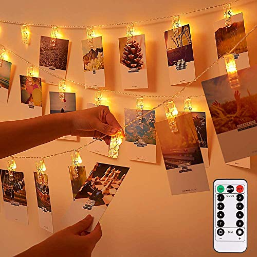 GaHeslop Photo Clips String Lights Holder Battery or USB Operated, 26ft 40 LEDs 8 Modes Indoor Fairy Photo String Lights with Clips Decorative Hanging Lights for Christmas (Warm White)