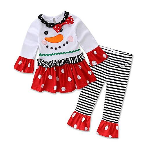 Infantil Disfraz Navidad Conjunto de muñeco de Nieve para bebé niña Camiseta de Manga Larga de Dibujos Animados...