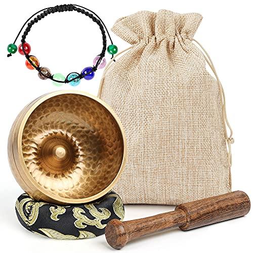 Koogel Juego de cuenco tibetano tibetano, 8 cm, terapia de sonido, cuenco dorado con mazo y pulsera de piedras de tratamiento para relajación, reducción de ansiedad, yoga