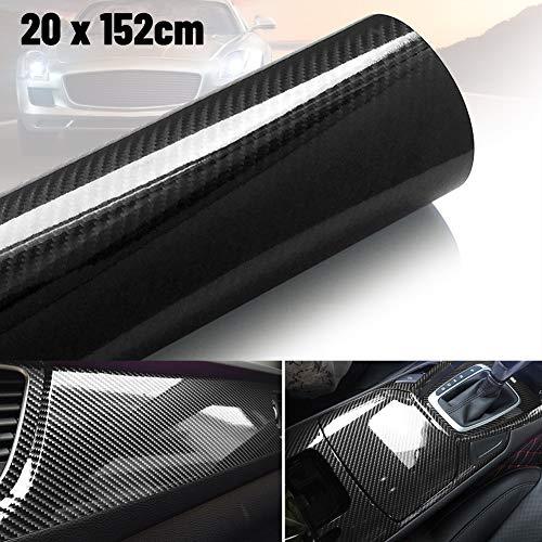 MOTOLIMO Autofolie aus hochglänzender Karbonfaser-Vinylfolie, Aufkleber, Luftfreigabe, wasserdicht, selbstklebend (6D)