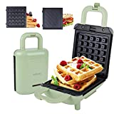 Mini Waffle Maker with Removable Plates Breakfast Sandwich Maker Non-stick Pancake Panini Press Waffle Iron 2 In 1 with Cool Touch Locking Handle for RV Camping Green 600w