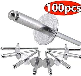 100x M2.4-M5 Aluminum//Steel Blind Pop Rivets Dome Head Open End Black