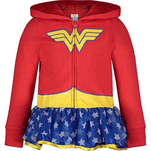 Warner Bros. Wonder Woman Baby Girls' Full-Zip Lightweight Costume Hoodie Ruffles (12M) Red