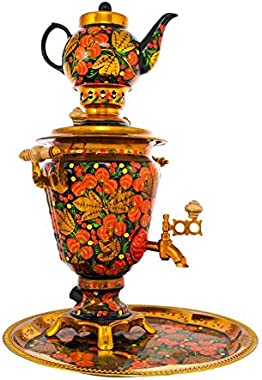 "Samovar electric 3 liters""Cone"" in the set of""Russian Khokhloma"" hand-painting"