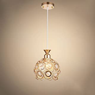 Baycher 20cm Modern Luxury Iron Led Chandelier Hollow Crystal Lampshade Pendant E27 Ceiling Light Restaurant Living Room Cafe Decorated Hanging Ceiling Lamp (Color : Gold)