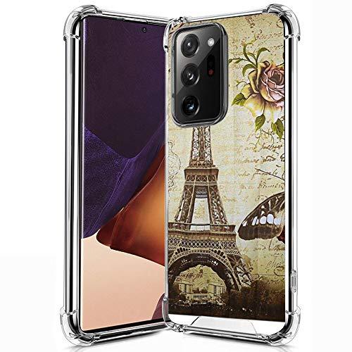 FAUNOW Carcasa transparente anticaída para Samsung Galaxy Note 20 Ultra 5G TPU Bumper Protección Anti-arañazos con Torre Eiffel de París