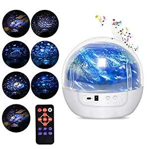 Acculove Night Light Projector with Timer Music Star Night Light Projector for Kids Remote Baby Projector Lamp Rotating Kids Night Lights for Bedroom 7 Projector Films for Children Toddler Gifts