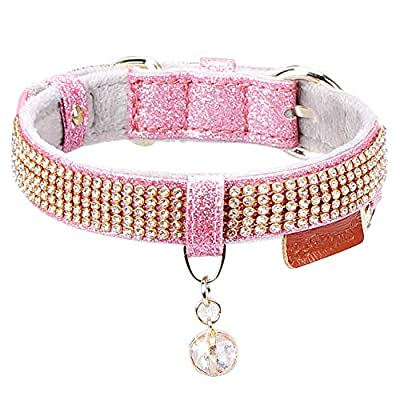 PetsHome Cat Collar, Dog Collar, [Bling Rhinestones] Premium PU Leather with Pendant Adjustable Collars for Small Dog and Cat Medium Pink