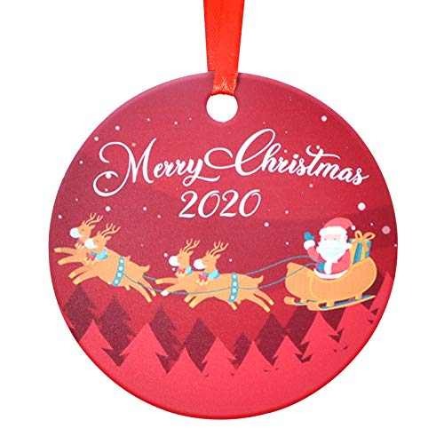 Aileam 2020 Christmas Tree Ornament, Merry Christmas Cute Elk Santa Claus Xmas Tree Hanging Decoration 4 inch Holiday Christmas Family & Friends Gift