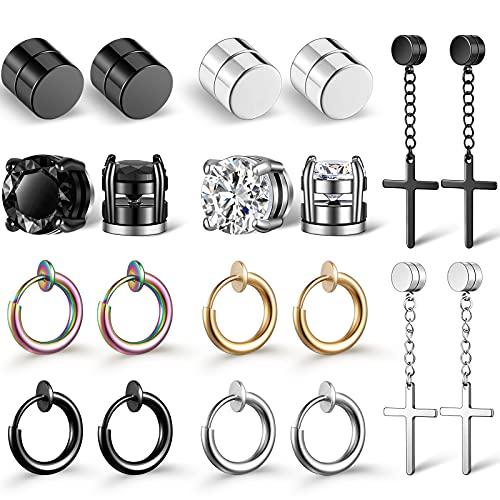 10 Pares Pendientes de Botón Magnéticos de Acero Inoxidable, Pendientes de Aro Colgantes Cruzados No Perforantes Pendiente de Clip de Calibre Set de Aretes con Imán Negro CZ (Estilo Vívido)