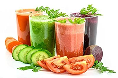 """Laminated 36""""x24"""" High Quality Poster: Vegetable Juices Vegetables Secluded White Fresh Glass Carrot Juices Eating Cocktail Drink Diet The Drink Healthy Organic Tomato A Vegetable Detox Refreshment Raw by Gifts Delight"""