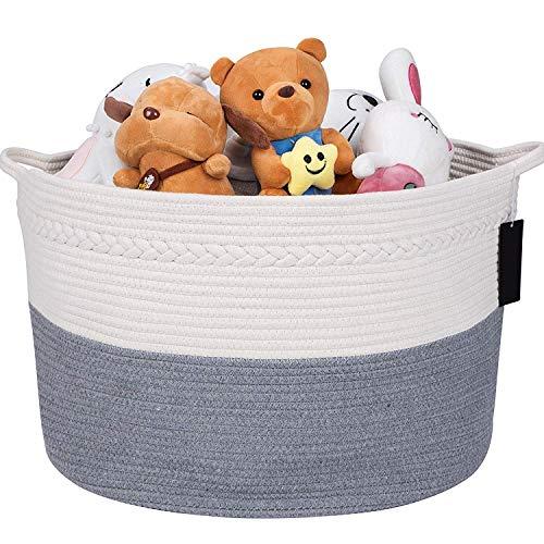 B Living Cotton Rope Basket - Grey Extra Large Woven Basket With Handles. Laundry Basket/Washing Basket For Bathroom Storage, Toy Storage,Shoes Storage. Belly Basket For Baby Blanket, Bathroom Towels