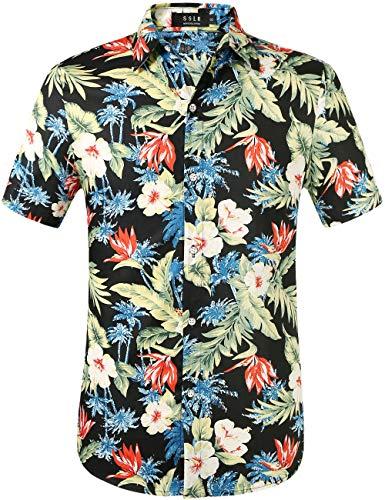 SSLR Herren Hawaiihemd Kurzarm Baumwolle Freizeithemd 3D Druck Blumen Button Down Aloha Shirts Strand (XX-Large, Black)