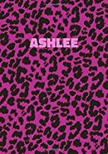 Ashlee: Personalized Pink Leopard Print Notebook (Animal Skin Pattern). College Ruled (Lined) Journal for Notes, Diary, Journaling. Wild Cat Theme Design with Cheetah Fur Graphic