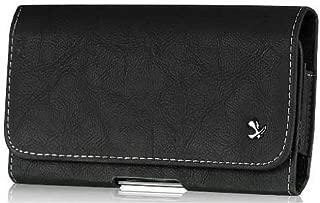 Motorola Droid RAZR MAXX HD Genuine Bold Leather Case Pouch Metal Clip With Belt Loop Hidden Magnetic Closure Black