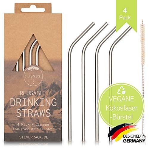 SilverRack Edelstahl Trinkhalme Wiederverwendbar - 4 Metall Strohhalme und 1 Naturfaser Reinigungsbürste - Edelstahl Strohhalme für leckere und umweltbewusste Cocktails