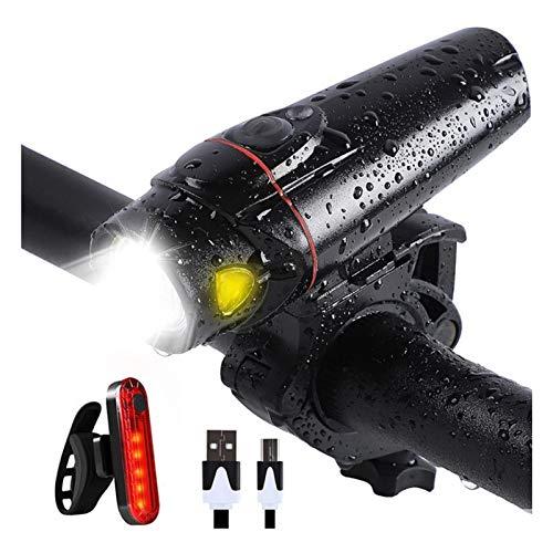 ERTYU LED Bike Light Set, Faro De Bicicleta USB Recargable con Sensor De Movimiento Y Luz Trasera, Luz Delantera De Brillo De Ajuste Automático, 4 Modos De Luz para Todas Las Bicicletas