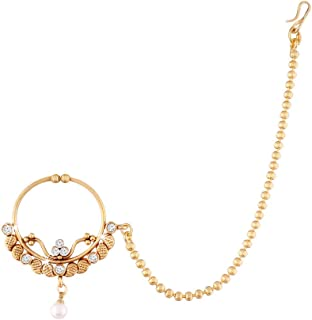 I Jewels Gold Plated Traditional Ethnic Bridal Clip on Nose Ring/Nath without piercing with chain Encased With Faux Stones...