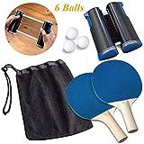 FEE-ZC Set da Ping Pong da Viaggio all'aperto Portatile, Set da Paddle da Ping Pong, 2 Racchette Premium, 6 Palline, 1 Rete da Ping Pong per Giocare o Giocare