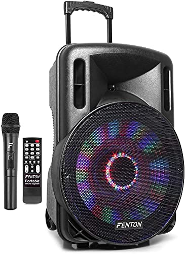Fenton FT15LED - Altavoz móvil Potente portatil 800 vatios Equipado con Bluetooth, Reproductor MP3 USB/SD micrófono inalámbrico 2 Altavoces de 15' con batería incorporada e iluminación LED