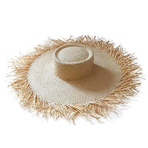 TUOLUO Sombreros De Sol De Rafia De ala Ancha para El Sol De Verano para Mujeres Sombrero De Paja Suave Plegable Señoras Cinta Holiday Beach Cap OneSize/Blanco