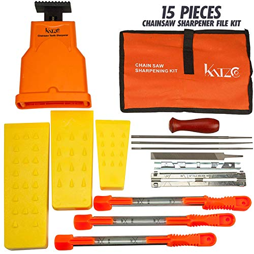 Katzco Deluxe Chainsaw Sharpener Kit with Storage Bag - 20 Pieces - Sharpening Set for Wood, Bone, PVC, Tree Pruning, Camping, Hunting, Toolbox, Bushcraft, Landscaping, Yard Work, and Survival Gear