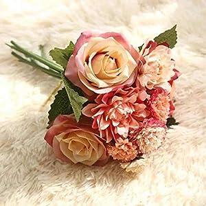 Artificial and Dried Flower 1 ble Dahlia Rose Flower Wedding Bouquet Bride Bridesmaid Holding Silk Flowers Artificial Flowers Home Decor