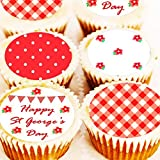 Happy St George's Cupcake Toppers - Garden Party George Red White Cake Decorations - 4cm x 24 - Pre Cut - Icing or Wafer (Edible Icing)