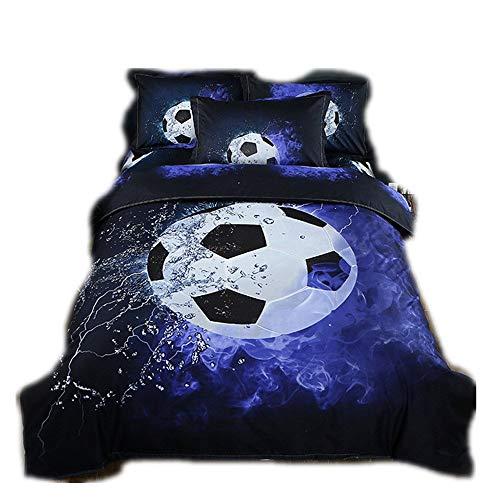 Copripiumino e federa per cuscino, set da letto 3D, stampa per bambini e ragazzi (calcio, 150 x 200 cm per 1,2 m di Bed)