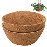 COSYLAND 2PCS 14 inch Round Coco Liners for Hanging Basket Coconut Fiber Planter Replaceme...