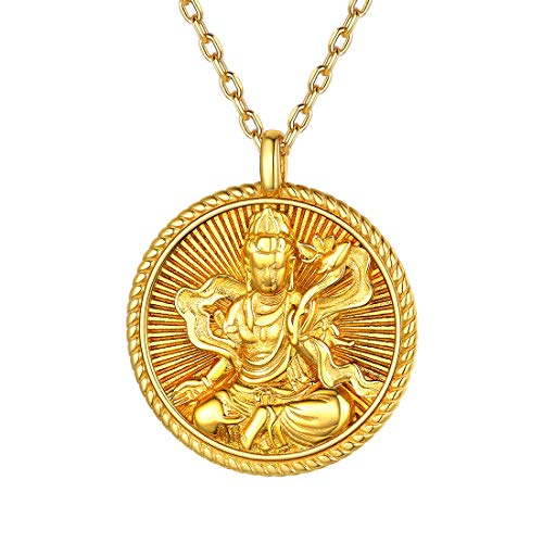 Gold Plated Coin Necklace for Women Men Samantabhadra Bodhisattva Patron Saint Benming Buddha pendant 925 Sterling Silver Chinese Zodiac Constellation Buddhism Round Pendant Necklaces Zen Jewelry