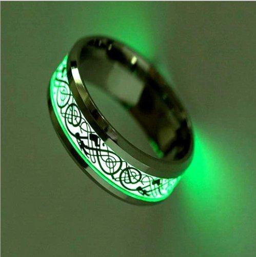 Nongkhai shop New Celtic Dragon Glow in The Dark Rings Luminous Titanium Steel Rings Size 6-12 (6)