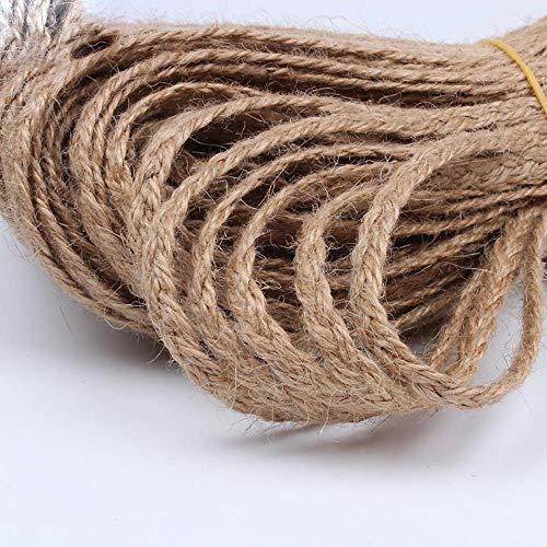 LLAAIT 7 mm 10 Yardas Trenza Cordón de cáñamo DIY Cuerda de Yute Hilo de Cinta de Lino Natural Material de artesanía Hecho a Mano DIY