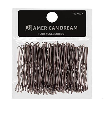American Dream mossi Bobby pins, marrone 5,1cm/5cm–Confezione da 100
