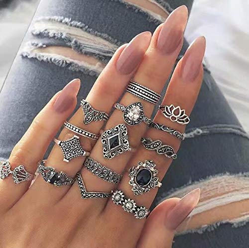 Set Phalanx Ring Boho Stone Crystal Black Jewelry