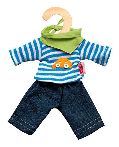 Heless 9315 - Bekleidungsset für Puppen, 3 teilig, Jeans mit Streifenshirt und pfiffigem Halstuch, Größe 20 - 25 cm