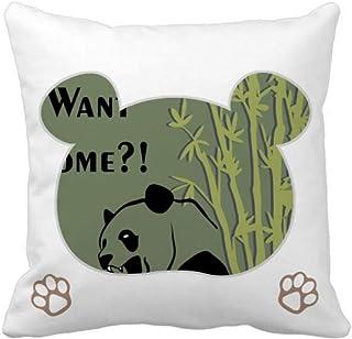 OFFbb-USA China Chengdu Panda Food Bamboo Bear - Funda cuadrada para almohada
