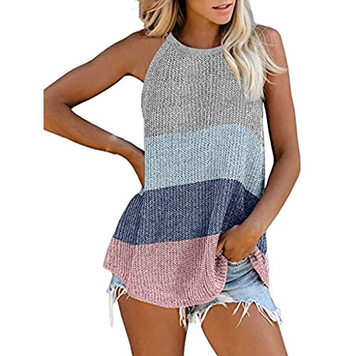 Purchase Women Tank Tops - Summer Halter Tunic Tank Tops Knit Loose Tank Top Rainbow Color Tops for ...